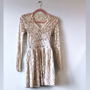 ASOS Lace Skater Dress in champagne, SIZE 4